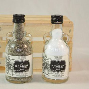 Salt & Pepper Shakers Upcycled from Kraken Glass Mini Liquir Bottles