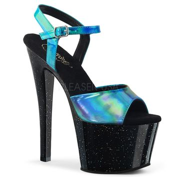 Turquoise Holographic Ankle Strap Sandal With 7 Inch Heels-Stripper Shoes