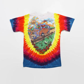 Vintage 90s GRATEFUL DEAD T-SHIRT / 1990s Rainbow Bears Tie-Dye 94 Tour Tee Shirt M