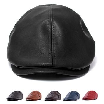 Vintage Men Women Leather Ivy Cap Bonnet Newsboy Beret Cabbie Gatsby Flat Golf Hat