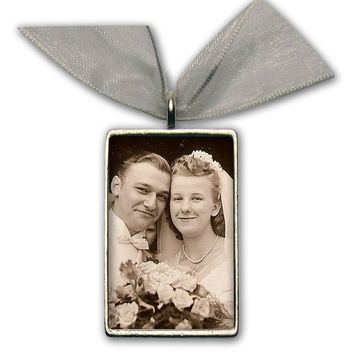 "Wedding Bouquet Photo Charm Bridal Bouquet Memory Charm Silver Pewter - Rectangle 1"" 1/4"" x 3/4"""