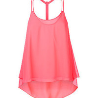Bright Pink Dip Hem Racer Back Swing Top