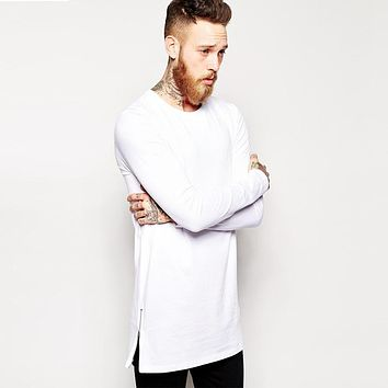 2017 Brand New extra long tee shirts for men hip hop men's longline t shirts long sleeve tall tees side zipper oversized t-shirt
