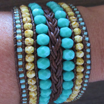 Leather Cuff Bracelet Braided and Beaded, Turquoise & Picasso Czech Glass with Topaz/Seafoam Seed Beads, Hand Beaded Custom Cuff Bracelet
