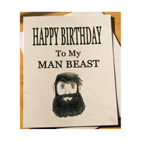 Funny Birthday Card, Naughty Card, Card For Boyfriend, Husband Gift, Bearded Man, Man Beast, Birthday Boyfriend, Adult Humor, Sexy Card