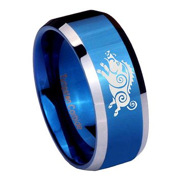 8mm Wild Boar Beveled Edges Blue 2 Tone Tungsten Mens Ring Engraved