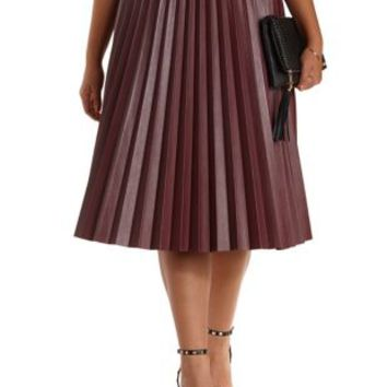 Plus Size Burgundy Pleated Faux Leather Midi Skirt by Charlotte Russe