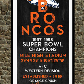 Denver Broncos - Eye Chart chalkboard print - sports, football, gift for fathers day, subway sign - Eyechart wall art