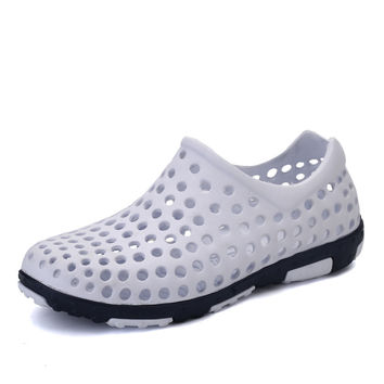 Big Size Melissa Jelly Shoes Men EVA Material Hollow Mules & Clogs White Blue Brown Gray Color Mens Outdoor Massage Beach Sandal