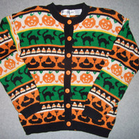 Vintage 90s Halloween All Hollows Eve Sweater Candy Corn Black Cat Tacky Gaudy Ugly Christmas Party X-Mas S Small