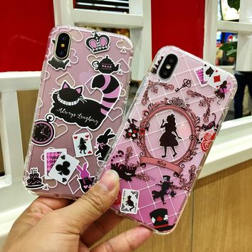 Alice in Wonderland Cheshire Cat Anti-Knock Air TPU Silicone Phone Case for Apple iPhone 8 7 6 6S Plus X 10 5 5S SE Coque Shell