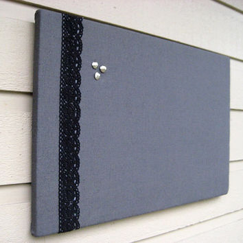 Modern and classic Grey Linen Bulletin Board with black embroidered lace for your Photos and Memos