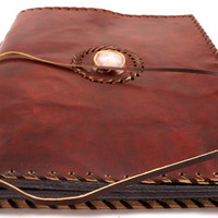 Leather Photo Album with Pink Quartz Stone and Pressed Flower Paper