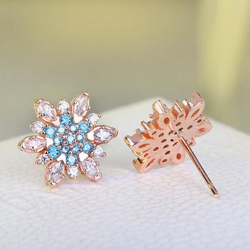 CZ Crystal Silver Stud Earring for Womens +Gift Box