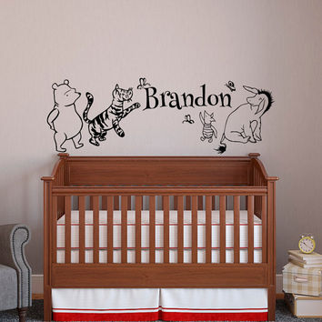 Classic Winnie The Pooh Baby Name Wall Decal Pooh Bear, Tigger, Eeyore, Piglet Wall Decals Nursery  Kids Room Personalized Baby Decor 055