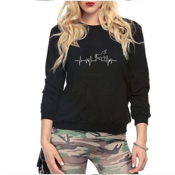 ONETOW The new Unicorn pattern printing plus cashmere round neck women's long-sleeved sweater