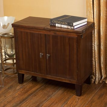 Glendora Two Door Brown Drop Leaf Mahogany Solid Wood Storage Chest