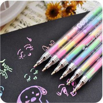 Kawaii Rainbow Color Gel Pen 6 In 1 Color Pens DIY Album Photo Decoration Highlighter Marker Pen Office Supplies