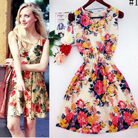 2015 New Fashion Spring Summer Autumn  Women Casual Bohemian Floral Leopard Sleeveless Vest Printed Beach Chiffon Dress Vestidos Femininos S-XXL
