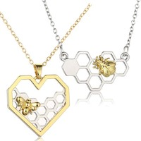 Bumblebee Honeycomb Necklaces Pendants Jewelry