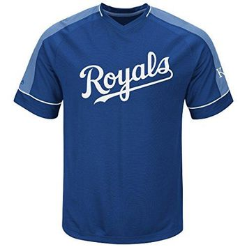 MLB Kansas City Royals Mens Lead Hitter 2 Synthetic V Neck Baseball Jersey by Majestic