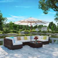 Monterey Outdoor Patio Sectional Sofa Set in Chocolate White
