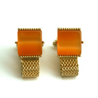 Gold and Orange Cufflinks by Swank Vintage Mesh Link Fold Over Cuff Links Fall Fashion Accessories for Men