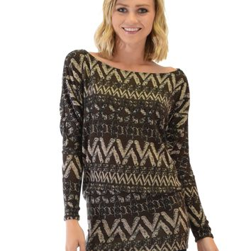 Lyss Loo Contemporary Long Sleeve Patterned Brown Dolman Tunic Sweater Top