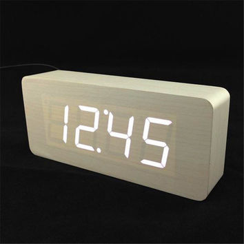 Big numbers Digital Clock Top Quality Alarm Clocks With Temperature Wooden Wood Table Clocks LED Display