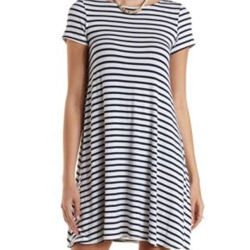 Ivory Combo Striped Trapeze T-Shirt Dress by Charlotte Russe