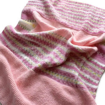Pink Knitting Blanket - Stroller Blanket - Baby Girl Blanket - Soft Blanket - Nursery Blanket - Travel Blanket - Baby Shower Gift