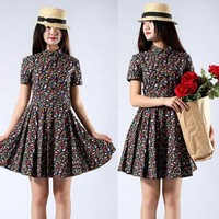 Short sleeve floral shirt waist dress lapel(long dress) | funnygirl5588 -  on ArtFire