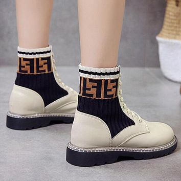 FENDI Fashion Women Casual Double F Letter High Top Inner Heighten Flat Shoes Sneakers Beige White I13723-1