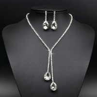 Deluxe Teardrop Crystal Choker Necklace and Earring Set