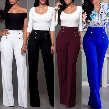 Women's Palazzo Flared Wide Leg Pants High Waist OL Ladies Career Long Trousers