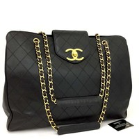 CHANEL Super Model Bicolore Quilted Lambskin Large Shoulder Tote Bag/d487