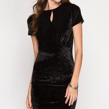 Black Crushed Velvet Bodycon Dress (final sale)