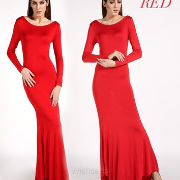 Lady Long Sleeve Ball Gown Women Backless Maxi Dress Sexy Party Evening Prom = 1904191812