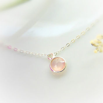 Rose Quartz Necklace - Pink and Silver Necklace - Pink Stone - Silver Necklace - Rose Quartz - Natural Stone Necklace - Gift for her