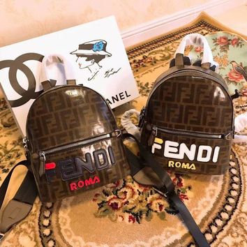 FENDI Women Casual School Bag Cowhide Leather Backpack