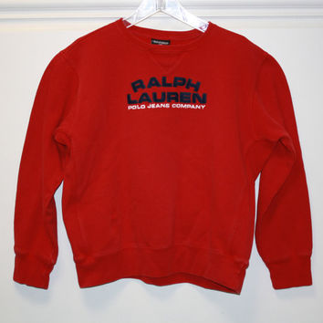 Vintage Polo Jeans Company Ralph Lauren  Sweatshirt Pullover Red Women's XL