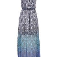 Ombre Paisley Maxi Dress With Mixed Color Belt - Multi
