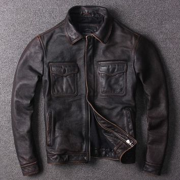Free .fashion young genuine leather jacket.100% cowhide pockets jackets.men vintage style coat.cool quality clim clothes