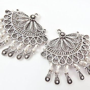 2 Delicate Exotic Filigree Chandelier Earring Component Pendants - Matte Silver Plated