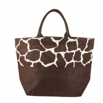 Giraffe Patterned Amy Jute Tote Bag with Zippered Top 22-1/2-in