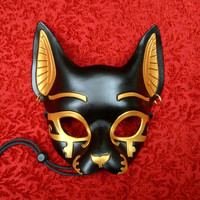 MADE TO ORDER Traditional Bast Leather Mask... masquerade egyptian jackal costume mardi gras halloween burning man splicer