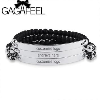 GAGAFEEL Personalized Engraved Names ID Bracelet Personalized Jewelry Stainless Steel Men Bangle Beads Bracelets Customized Name