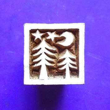 Square Tree Moon Japanese Wood Stamp Hand Carved Fabric Textile Indian Print Block