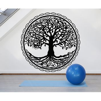 Vinyl Wall Decal Tree of Life Oak Circle Meditation Home Room Art Stickers Mural (g1052)