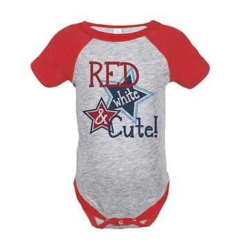 Custom Party Shop Red White & Cute 4th of July Raglan Onepiece